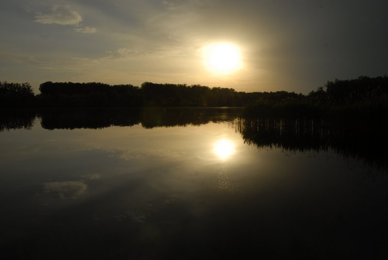 sunset over the Buddha Lake in Loewenberger Land